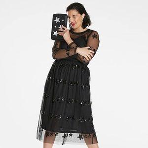 Asos Simply Be 16 Black Star Sequin Sheer Dress